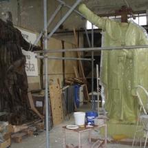Alessandro Fagioli Fase di Restauro statue Duomo Aosta 1
