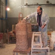 Alessandro Fagioli particolare fase di restauro statue Duomo Aosta 3