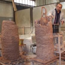 Alessandro Fagioli particolare fase di restauro statue Duomo Aosta 4